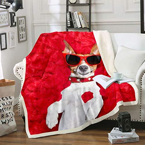 Manta de forro polar para perro acostado en rosas, manta de felpa para sofá cama adulto 3D Animal Sherpa manta cálida borrosa decoración de habitación con gafas divertido rojo individual 50 x 60