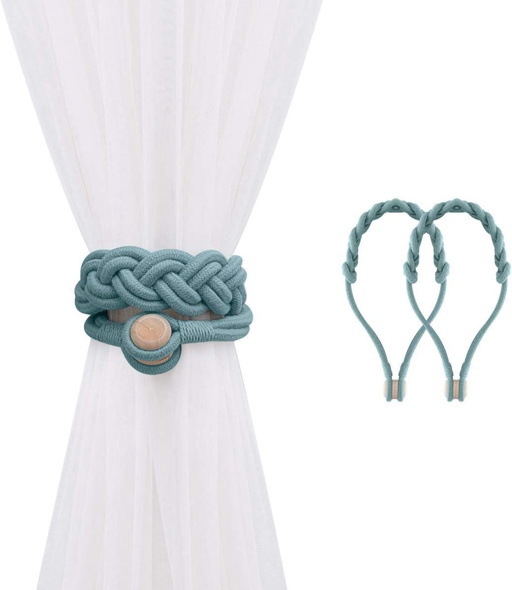 Corde de Rideau Tiss/é avec Boucle en Bois Durable Chambre Salon D/écoration pour Maison Boucle de Rideau en Coton Tress/é Lewondr Embrasses pour Rideaux Magn/étique, Gris Bleu 2 PCS