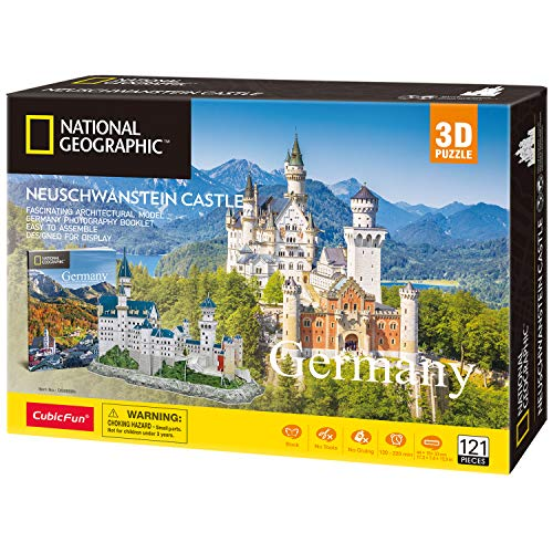 CubicFun 3D Jigsaw Puzzles for Adults and Kids Neuschwanstein Castle Architecture Model Building Craft Kits Gifts for Women Boys Girls - 121 Pieces