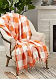 Fennco Styles Autumn Buffalo Plaid Tassel Cotton Throw Blanket 50' W x 60' L – Orange Blanket for Couch, Bedroom and Living Room Décor