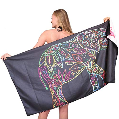 Microfiber Sand Free Beach Towel-Quick Fast Dry Super Absorbent Oversized Lightweight Big Large Towels Blanket for Travel Pool Swimming Bath Camping Adult Women Men Body Black Elephant Flamingo