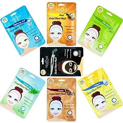 Korean Sheet Face Masks - Purifying, Moisturising, Brightening, Hydrating, Anti-Aging, Collagen, Snail, Aloe Vera, Hyaluronic, Charcoal, Snake, Tissue Masks Multipack Set of 7