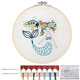 MWOOT Kinder Stickerei Starter Kit Kreuzstich Set,DIY Handgemachte Meerjungfrau Cross Stitch Embroidery Starter Kit für Anfänger