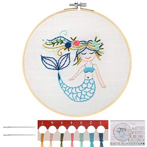 MWOOT Kit de Herramienta de Punto Cruz,Cross stitch a Mano Kit de Inicio de Bordado para Adulto Niño Principiantes -Sirena