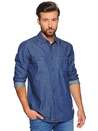 MUSTANG, Kent Collar, Herren Herren Langarm Hemd Jeanshemd Denim Ohne Stretch Blue Rinse M [22631]