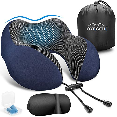 Travel Pillow, OYRGCIK 100% Pure Memory Foam Neck Pillow, Soft & Breathable Cotton Cover, Machine Washable Airplane Travel Kit U Shaped Pillow with 3D Contoured Eye Mask, Earplugs, & Travel Bag, Blue