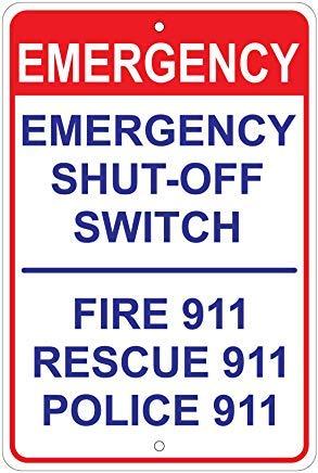 Kysd43Mill Interruptor de apagado de emergencia: fuego/rescate/aviso de policía divertida señal de advertencia para el hogar, aviso de peligro de metal, señal de propiedad privada, señal de puerta de jardín, 8 x 12 pulgadas