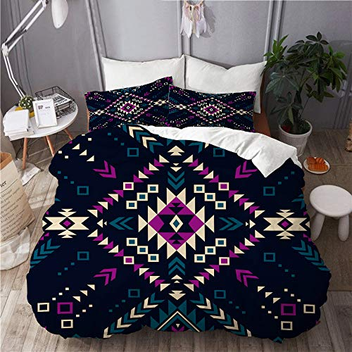 Mokale Duvet Cover Set,dark color tribal navajo vector seamless,Bedroom,Dorm room,Decorative 3 Piece Bedding Set with 2 Pillowcase,King Size