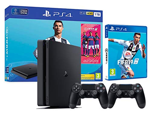 PS4 Slim 1Tb Playstation 4 Nera + FIFA 19 + 2 Controller Dualshock 4