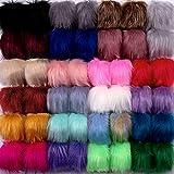 SIQUK 46 Piezas Pompones Artificial Piel 23 Colores Bola de Pompón, para Bolsos Llaveros (Color Claro)