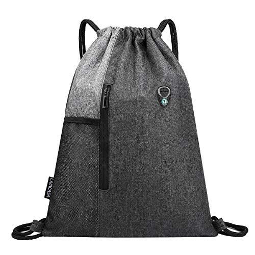 LIVACASA Drawstrings Backpacks Bags for Men Women Gym Drawstring Bags USB Port Headphone Hole Waterproof Red Grey
