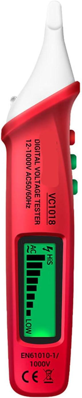 Comprobador de Voltios sin Contacto Bolígrafo AC 12V- 1000V Detector Zumbador Herramienta Eléctrica Bombilla Y Probador de Fusibles con Pantalla LCD
