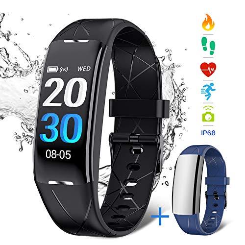 Pulsera Deportiva NASUM , Reloj Inteligente IP68 Pulsera Inteligente bluetooth Resistente al Agua con Monitor de Ritmo Cardíaco y de Sueño, Reloj de Contador de Pasos y de Calorías