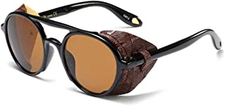 Men Sunglasses with Side Shields Leather Round Sun Glasses for Women Retro UV400