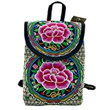 Women's backpack embroidery retro ethnic style bag Bohemian hippie daily backpack canvas embroidered travel bag