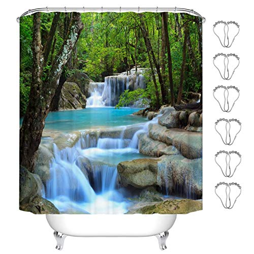 MIN-XL Duschvorhang Anti-Schimmel Textil Waschbar Anti-Bakteriel Badvorhänge 3D Wasserdicht Duschvorhänge mit 12 Edelstahl Duschvorhangringe für Badezimmer (Waldwasserfall, 180 x 200 cm)