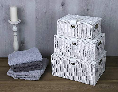 HomeZone Hand Woven Hamper Storage Box Sets Various Sized Boxes Organisation Home Décor Woven Resin Box Bathroom Kitchen Home Organiser Multi-Purpose Baskets Gifting (3 x White (with leather lock))