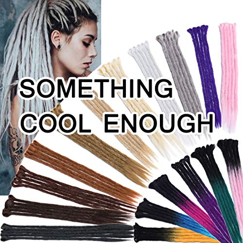 SEGO 24 Inch Ombre Dreadlock Extensions for Women/Men Bicolor Synthetic Handmade Dread Extension Long Single Ended Hippie Style Reggae Hair #Black to Dark Green 20 strands