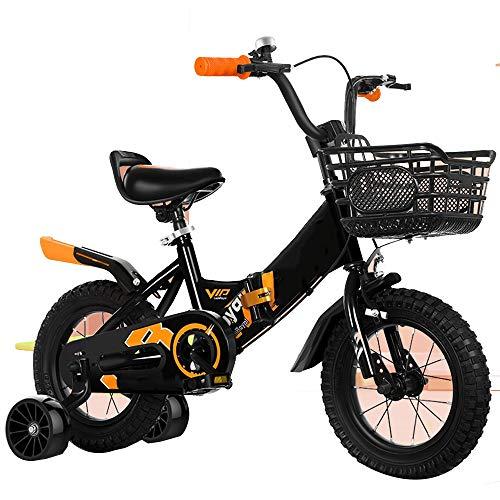 YumEIGE 12 14 16 fietsen 18 inch kinderfiets met trainingsbanden, kinderfiets voor jongens en meisjes opvouwbaar, geschikt voor 2-9 jaar 49-53 inch 16in blue