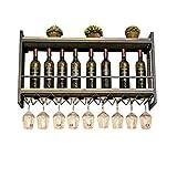 LXYPLM-WR1 Wine Rack Wine Organizer Rack 2 Tier Metal Wall Mounted Wooden Storage Vintage Industrial Wine Champagne Glass Goblets Stemware Rack Holder for Bars Restaurants Kitchens