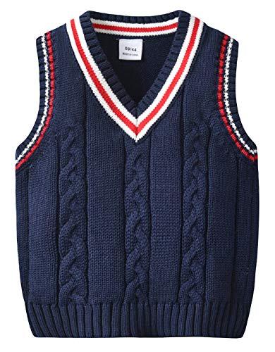 EOZY Baby Jungen West Pullover Ärmellos Strickweste Pullunder Sweatshirt Navy Größe 80