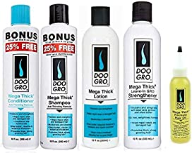 Doo Gro Mega Thick 5 PCS Combo Set (Shampoo, Conditioner, strengthener, Growth Lotion, and Growth Oil) Plus 1 Free pencil