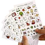 Leisial 6 Blatt Tagebuch Sticker Fotoalbum Sticker Notizbuch Sticker - Süß Kaninchen für DIY Deko (Karikatur) (#1) (Karikatur) (Karikatur)