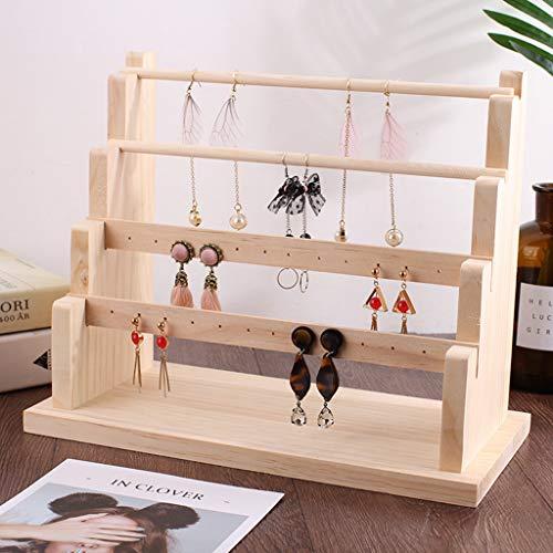 Soporte de la joyería para los collares pendientes caja de madera estante de exhibición de la joyería del sostenedor del organizador de escritorio joyería Armario Gabinete de almacenamiento,B-4 layer