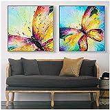 Pintura de lienzo Mariposa colorida Impreso Giclee Impresión Arte de la pared Habitación de niña Decoración de la sala 80x80cm Sin marco azul