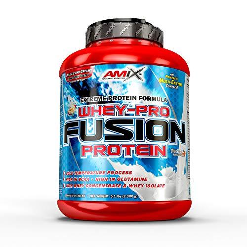 AMIX, Proteína Whey, Pure Fusión, Concentrado de Suero Ultra Filtrado, Sabor Fresa, Proteínas para Aumentar Masa Muscular, Proteína Isolada con Splenda, Contiene L-glutamina, 2,3 Kg