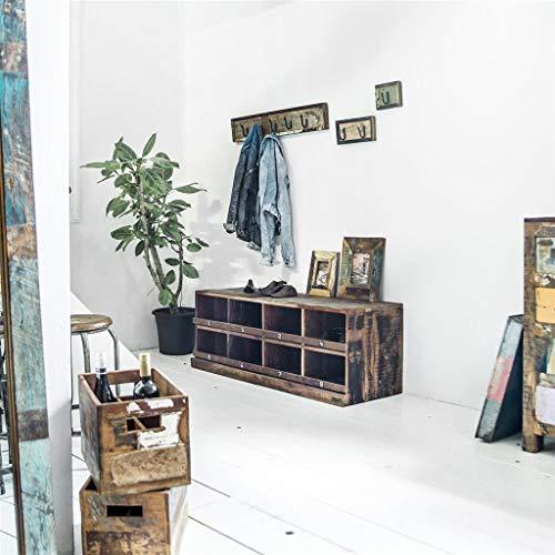 STUFF Loft Zapatero y banco vintage de madera reciclada – Colección Factory Medidas: 45 cm x 40 cm x 120 cm (alto x profundidad x ancho)