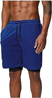 Pantalones Cortos Hombre, Verano Chándal de Hombres Color sólido Gym Deportivos Transpiración de Secado rápido Elásticos Pants Skinny Jogging Fitness Slim Fit Doble Capa Pantalones Cortos de Playa