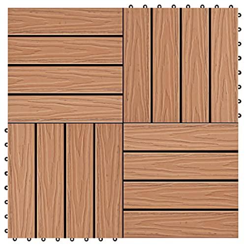 SHUJUNKAIN Baldosas Porche Relieve Profundo WPC 30x30 cm 1 m² Teca 11 uds Bricolaje Materiales de construcción Suelos y moquetas Teca