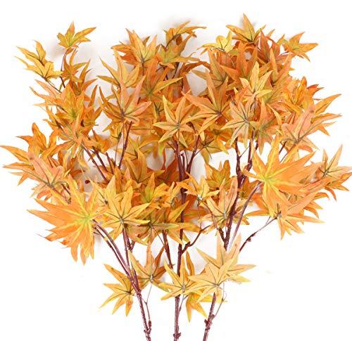 XHXSTORE 3pcs Künstliche Pflanzen Kunst Herbstblätter Zweige Kunstpflanzen Wetterfest Plastikpflanzen Herbst Gefälschte Pflanzen für Draußen Innen Balkon Garten Herbst Tischdeko Hause Dekoration