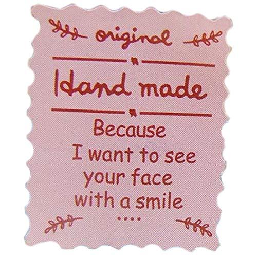 (I) 切手シート型ハンドメイドシール 1シート(14個) (カラー)ピンク色 ペーパータグ 紙 POP 値札 穴あき アクセサリー台紙 ラッピング用 プレゼント メッセージカード