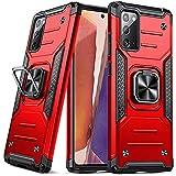 DASFOND Armor Hülle für Samsung Galaxy Note 20 5G Hülle Militärische Stoßfeste Handyhülle [Upgrade 2.0] Cover 360 ° Ständer mit Auto Magnet,Rot