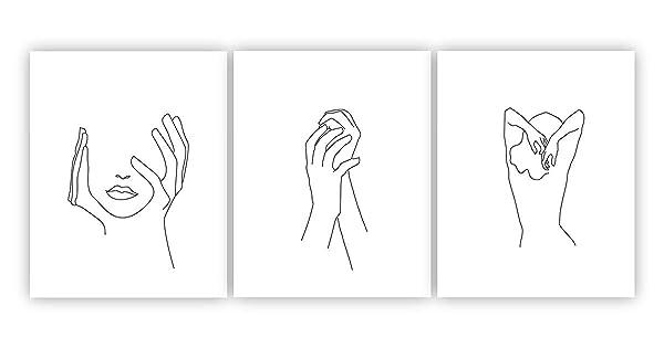 ملصق Barri Design Hands On Face Feminine Yands Print ملصق أبيض