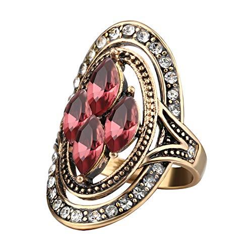 EzzySo Anillo de Diamante de Piedras Preciosas, joyería de Anillo de aleación de aleación de Estilo Retro Americana (2 Piezas),7