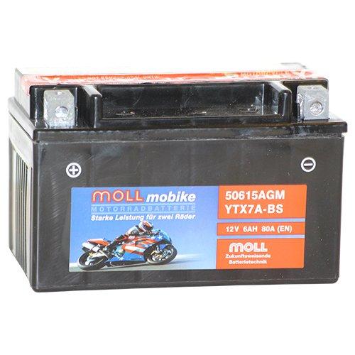 Moll mobike AGM Motorradbatterie YTX7A-BS 6Ah 12V 80A - 50615