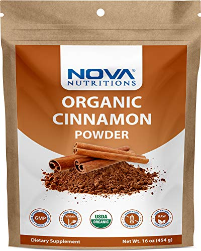 Nova Nutritions Certified Organic Cinnamon Powder 16 OZ (454 gm) - Cinnamomum Verum (Bark)