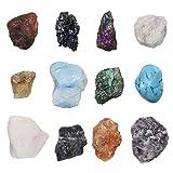 Cryst altears 12x naturales rohstein piedras preciosas Chakra Kit Healing Reiki Balance Deko Set