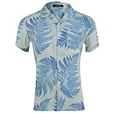 zzzddd Hombre Manga Corta Camisa con Estampado De Solapa De Manga Corta para Hombre Camisa Floral Modelo Floral Casual Verano Hawaiian Vacaciones Casual Top, Blanco, L