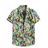 Camisa hawaiana para hombre, de verano, informal, con flores, manga corta, corte ajustado. E_blanco. XXL