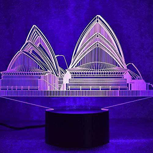 3D Led Visual Sydney Coloré Luminaire USB Creative Table Lampe Mood House Dormir Veilleuse Nouveauté Opéra Lampe Enfants Cadeau