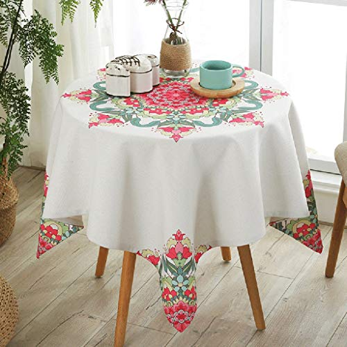 Table ronde de style national Housse de table carrée anti-poussière pour table à manger de table ronde en coton (taille : 85 * 85cm)