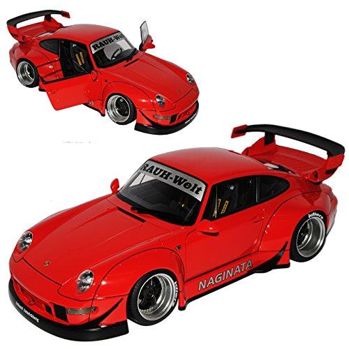 AUTOart Porsche 911 993 Carrera Coupe RWB Coupe Rot Rauh-Welt 1993-1998 78153 1/18 Modell Auto mit individiuellem Wunschkennzeichen