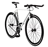 Big Shot Bikes | Copenhagen White | Fixie Track Bike | Single Speed or Fixed Gear | White & Black Accents | for Men & Women | Rider Height 5'11' to 6'3' | Large