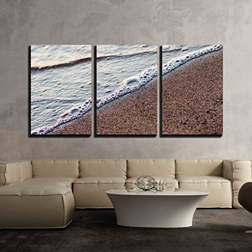 """wall26 - 3 Piece Canvas Wall Art - Water and Sand Diagonal Backround - Modern Home Art Stretched and Framed Ready to Hang - 24""""x36""""x3 Panels"""