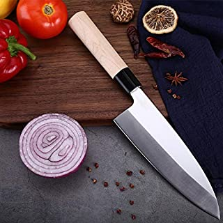 Couteau à sashimi 7 pouces chef japonais Couteau Fendoir saumon Couteaux Sushi légumes Couteau de cuisine Coupe Santoku 5C...