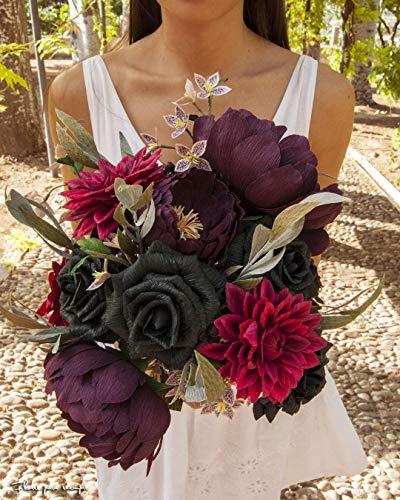 Ramo nupcial de novia de flores de papel con peonias, dalias y rosas n